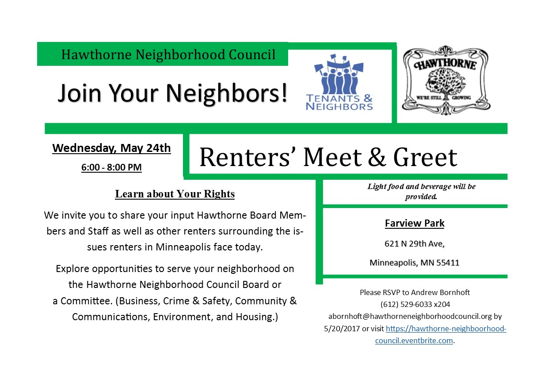 Renters' Meet & Greet @ Farview Park | Minneapolis | Minnesota | United States