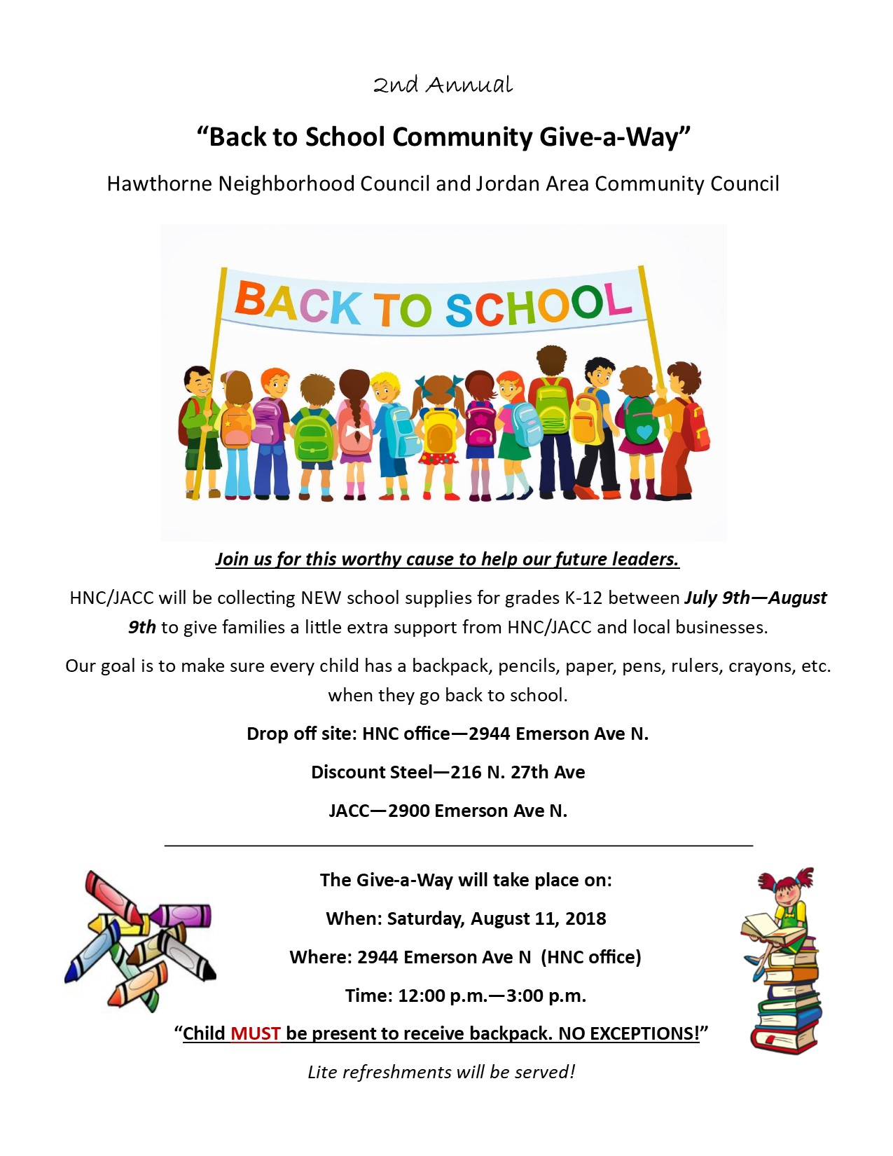 Hawthorne's 2nd Annual backpack give away @ Hawthorne neighborhood council | Minneapolis | Minnesota | United States
